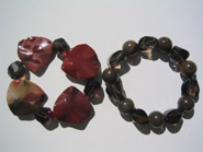 Avenue two tone with cut smokey Qtz stone bracelets